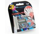 Лезвия сменные для мужской безопасной бритвы K 3 Innovator — 3 лезвия, с плавающей головкой и антибактериальной полоской / KAI / 6 шт.