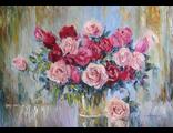 """Круглова Светлана. """"Розы в дождливый день"""",  холст / масло,  50 х 70 см.,  2016 г."""