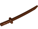 Minifigure, Weapon Sword, Shamshir/Katana Square Guard with Capped Pommel and Holes in Crossguard and Blade, Reddish Brown (21459 / 6197975 / 6331580)