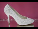 Распродажа свадебные туфли белые украшены стразами серебренными средний каблук шпилька № 50