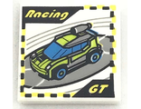 Tile 2 x 2 with 'Racing', 'GT' and Race Car Video Game Pattern, White (3068bpb1141 / 6214469)
