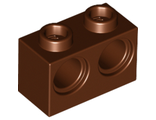 Technic, Brick 1 x 2 with Holes, Reddish Brown (32000 / 6151461)