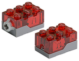 Electric, Light Brick 2 x 3 x 1 1/3 with Trans-Red Top and Red LED Light, Dark Bluish Gray (54930c01 / 4294909)