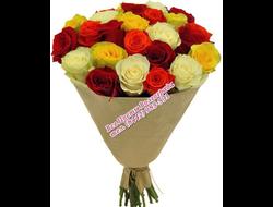 25 роз миксовым букетом