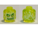 Minifigure, Head Alien Ghost with Yellowish Green Face, Bushy Eyebrows, Slime Mouth and Flames in Back Pattern - Vented Stud, Trans-Neon Green (28621pb0006 / 6289267)