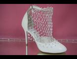 Свадебные цвет белый открытые туфли с закрытым носиком и пяткой круглый мыс классика средний каблук украшены мелким стразами  № 820=20