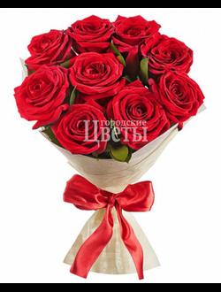 Букет из 9 красных алых роз