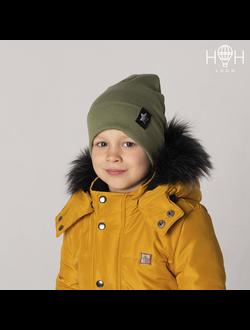 ШВ19-04611814 Двухслойная трикотажная шапка с подворотом, со звездой лентой, хаки