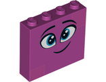 Brick 1 x 4 x 3 with Twinkling Dark Azure Eyes, Eyebrows, Smile and Dark Pink Squares on Two Corners Pattern Queen Watevra WaNabi Face, Magenta (49311pb03 / 6263008)