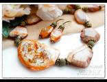 Украшения из натуральных камней. Комплект украшений из агата. Колье и серьги. Массивные украшения.