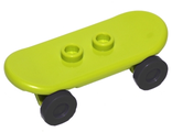 Minifig, Utensil Skateboard with Trolley Wheel Holders and Black Trolley Wheels 42511 / 2496, Lime (42511c01)