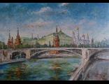 """Круглова Светлана. """"Кремль и Большой каменный мост"""",  холст / масло,  50 х 70 см.,  2015 г."""