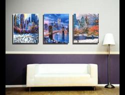 """Картина по номерам на холсте """"В зимнем Нью-Йорке"""", триптих 4050 см 3 шт."""