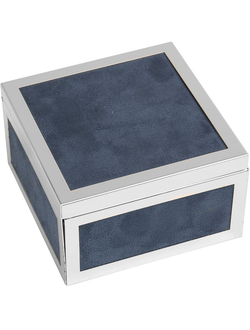 Шкатулка BOX SUEDE GREYISH BLUE 11X11CM STEEL 30106