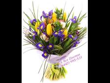 Букет Позитив 11 желтых Тюльпанов и 15 шт синих Ирисов