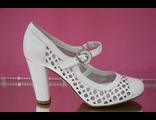 Кожаные белые туфли в дырочку широкий устойчивый каблук с перепонкой круглый мыс № В860801-987