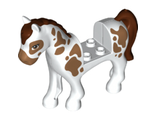 Horse with 2 x 2 Cutout, Medium Nougat Eyes and Spots, Reddish Brown Mane and Tail Pattern, White (93083c01pb10 / 6151598)