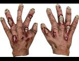 перчатки из латекса, руки зомби, резиновые руки, с кровью, кости, ужасны руки, страшны руки, когти