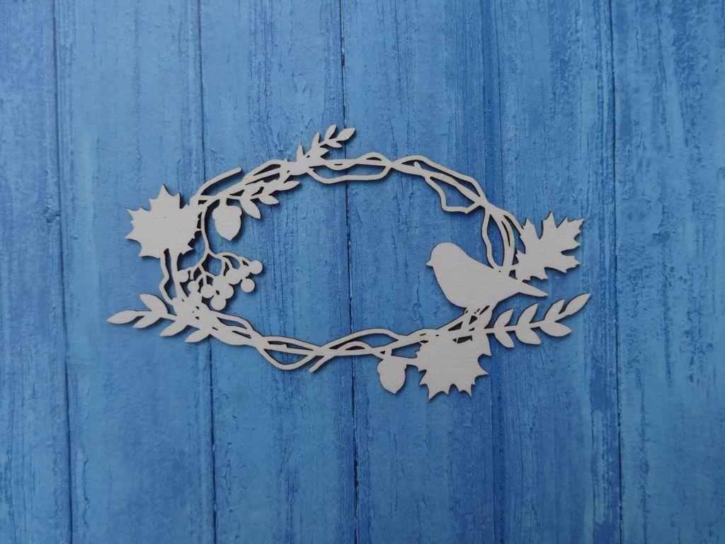 Чипборд Ажур рамка с птичкой рябиной веточками