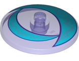 Dish 4 x 4 Inverted Radar with Medium Azure Crescents and Silver Lightning Pattern, Trans-Purple (3960pb039 / 6191598)