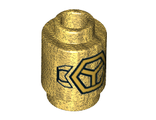 Brick, Round 1 x 1 Open Stud with Gold Subdivided Hexagon and Wings Pattern, Pearl Gold (3062bpb056 / 6214097)