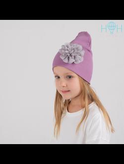 ШВ19-13910349 Двухслойная трикотажная шапка с серым цветком, лапша сиреневый
