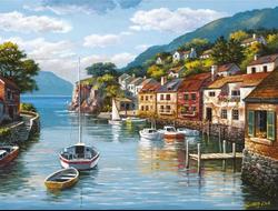 Картина (раскраска) по номерам на холсте - Лодочки на воде, худ. Сунг Ким EX 5237