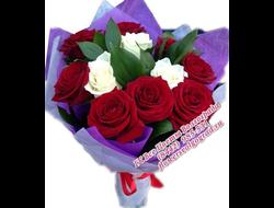 Букет красных и белых роз Душевные Поздравления