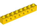 Technic, Brick 1 x 8 with Holes, Yellow (3702 / 370224)