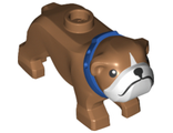 Dog, Bulldog with White Muzzle and Blue Collar Pattern, Medium Nougat (65388pb02 / 6288073)