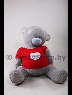 Плюшевый медведь Тедди (Teddy) в красной вязанной футболке 120 см.