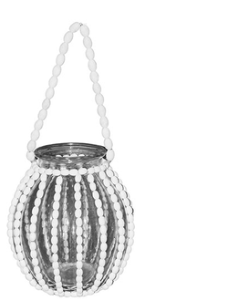 Фонарь - подсвечник LANTERN PERLOA WHITE D23XH49.5CM GLASS+MAPLE BEAD арт. 30883