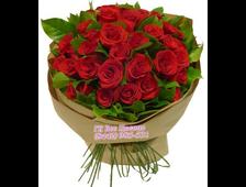 Круговой букет из 25 красных роз