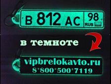 Брелок гос номер авто + любое изображение, надпись, двухсторонний светящийся в темноте (зеленое свечение)