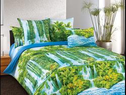 ВОДОПАД.  Комплект постельного белья из набивной бязи традиции текстиля, цельнокройное, хлопок 100%