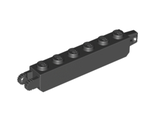 Hinge Brick 1 x 6 Locking with 1 Finger Vertical End and 2 Fingers Vertical End, Black (30388 / 3038826 / 4226509)