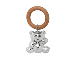 """Серебряная погремушка """"Мишка"""" на деревянном кольце"""