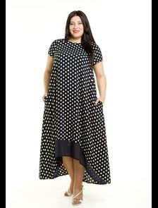Платье макси 499-Lux (горох). Размерный ряд: 54-70