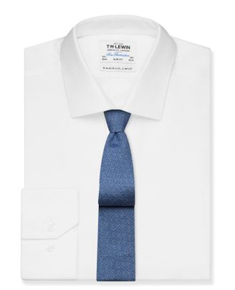 Рубашка T.M.Lewin Cool Comfort Non-Iron Slim Fit White Dobby Weave Shirt - Button Cuff