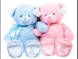"Медвкжонок ""My first teddy"" (розовый/голубой) 40см"