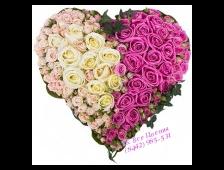 Сердце из цветов Ты моя половинка