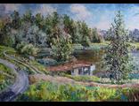 "Круглова Светлана. ""Пляж у пруда"",  холст / масло,  50 х 70 см.,  2016 г."