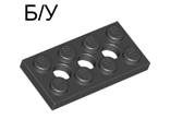 ! Б/У - Technic, Plate 2 x 4 with 3 Holes, Black (3709b / 370926) - Б/У
