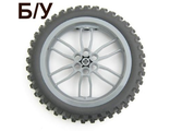 ! Б/У - Wheel 75mm D. x 17mm Motorcycle with Black Tire 100.6mm D. Motorcycle ;88517 / 11957;, Dark Bluish Gray (88517c02) - Б/У