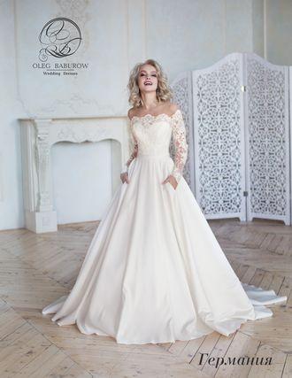 cd65dd27f51 Свадебное платье с рукавами и атласной юбкой