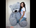 Плюшевый медведь Тихон 200 см серый Россия