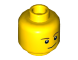 Minifigure, Head Brown Eyebrows, White Pupils, Lopsided Smile with Brown Dimple Pattern - Hollow Stud, Yellow (3626cpb1286 / 6100222)