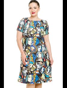 Платье в стиле поп-арт 2831-PL. Размерный ряд: 50-64