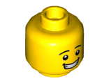 Minifigure, Head Black Eyebrows, White Pupils, Chin Dimple, Open Mouth Smile with Teeth Pattern - Hollow Stud, Yellow (3626cpb1569 / 6153335)