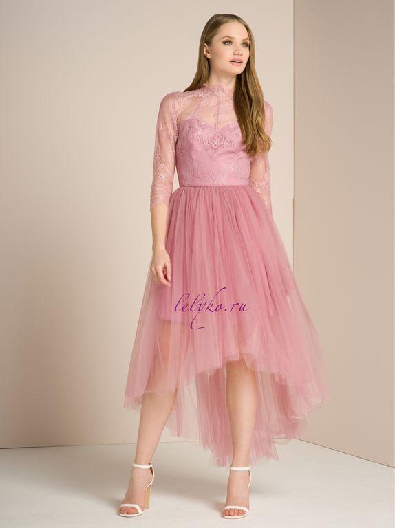 786f3dcd478 Вечернее нежно-розовое пышное фатиновое каскадное платье с рукавами